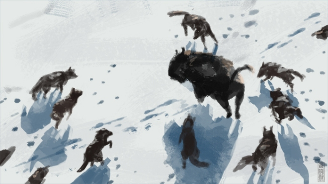 bison-hunt-speed-painting